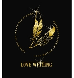 Emblem writer s feather vector