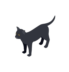 Black cat icon isometric 3d style vector image