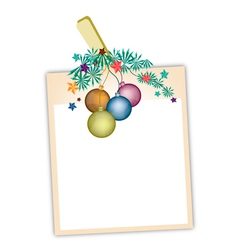 Blank Photos with Christmas Ball vector image
