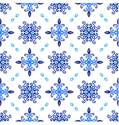 Blue background floral curvy pattern vector