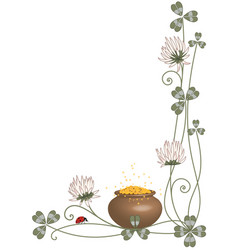 Border with clover pot and ladybird vector