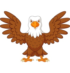 Cartoon bald eagle standing with wings extended vector image vector image