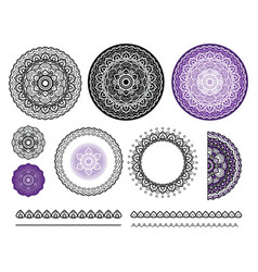 Collection elements of mandala round vector
