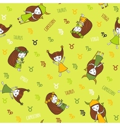 Cute seamless pattern with zodiac signs vector image