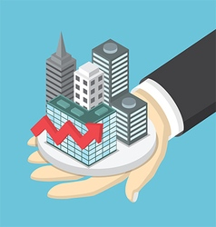 Isometric businessman hand holding the city vector