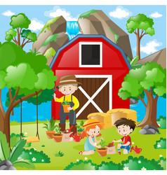 kids planting tree in the garden vector image