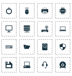 Laptop icons set collection of router hdd power vector
