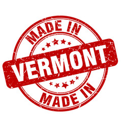 Made in vermont red grunge round stamp vector