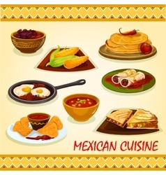 Mexican cuisine spicy dishes icon vector