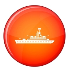 Military warship icon flat style vector