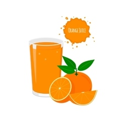 Orange juice with delicious oranges vector
