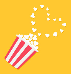 popcorn popping in the corner heart shape frame vector image vector image