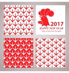 Red rooster card for the new year 2017 vector