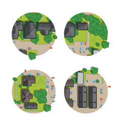 Set of city top view from the rooftops trees cars vector