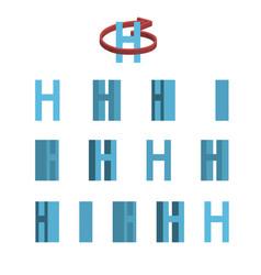 Sheet of sprites rotation of cartoon 3d letter h vector
