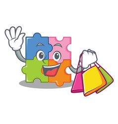 Shopping puzzle character cartoon style vector