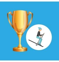 Ski male trophy sport design vector