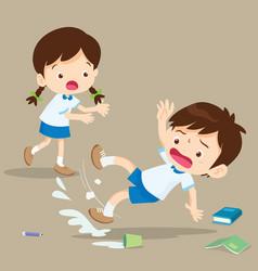 Student boy falling on wet floor vector