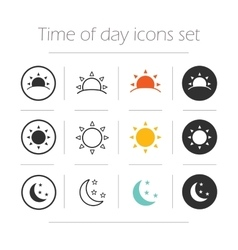 Time of the day simple icons set vector