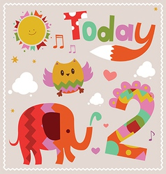 Today is 2 holiday card vector