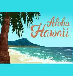 waikiki beach of oahu island vector image vector image