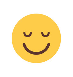 Yellow smiling cartoon face closed eyes emoji vector