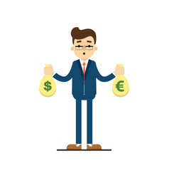 Young businessman hold bags of money vector