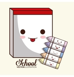 Kawaii cartoon icon school design graphic vector
