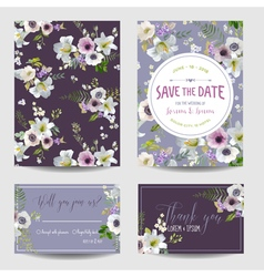 Wedding card lily and anemone flowers vector