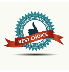 Best choice retro label with gold ribbon vector