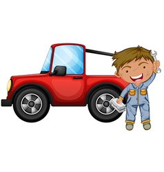 A boy fixing the red jeep vector