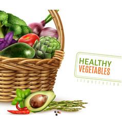 Healthy vegetables in basket vector