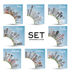 set of 8 japanese cities with gray buildings vector image