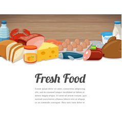 Fresh food card design food background with vector