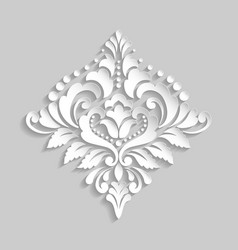 Damask volumetric ornamental element elegant vector