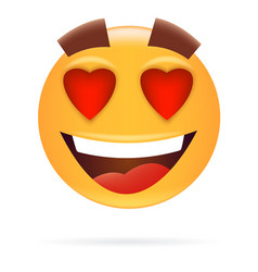smiley character in love icon style happy face vector image