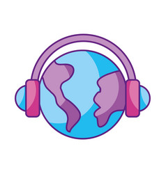 world planet with earphones device isolated icon vector image