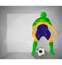Brazilian football player with ball in triangles5 vector image