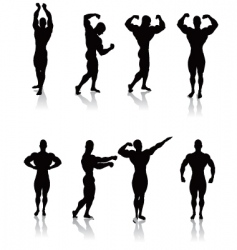 Classic bodybuilding poses vector