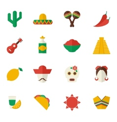 Mexico flat icons set vector image