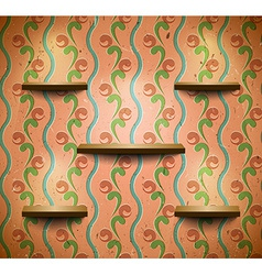 Wooden shelves in retro room vector