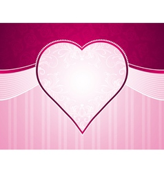 Pink background with big heart and roses vector