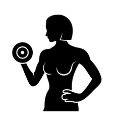 Athletic woman silhouette pumping up muscles with vector