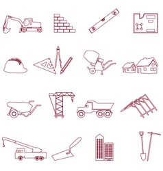 Construction and work simple outline icons set vector
