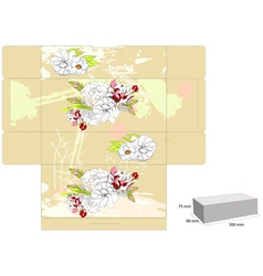 Template for box with flowers vector