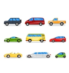 Car icons in flat style vector