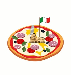 Italian pizza cheese in form of a silhouette map vector