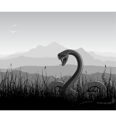 landscape with angry snakes vector image