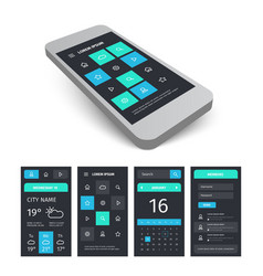 Mobile user interface app kit template with vector