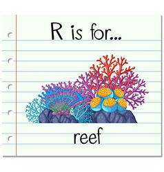 Flashcard letter r is for reef vector